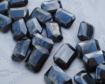 Vintage 18x13mm Opaque Jet Black Hematite Fire Polished Octagon Jewels or Cabs (2 pieces)