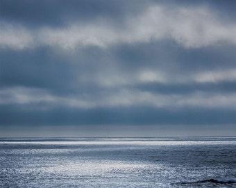 Twilight Seascape - Ocean - Cloudy Sky - Fine Art Photo - Blues - Silver - Seascape - Zen - Minimalist - Home Decor - Office Decor
