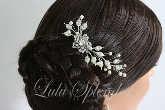 Wedding Hair Comb Flower Side Comb Pearl Crystal Wedding Hair Piece Wedding Hair Accessories VINTAGE HARLOW