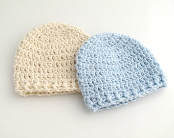 Crocheted Baby Beanie Hats. Blue. Ecru.