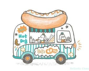 Sausage dog with hot dog van - A3 Original limited edition silk screen print