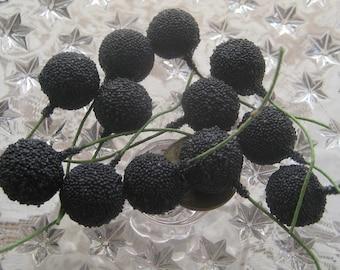 Millinery Fruit Jumbo Berry Blackberry Germany 12 Blackberries Stems