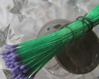Millinery Flower Stamen Germany 100 Stems Green And Purple  86-24