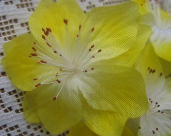 Vintage Millinery Flowers East Germany Organdy Fabric Millinery Flowers Yellow  VF 065 Y