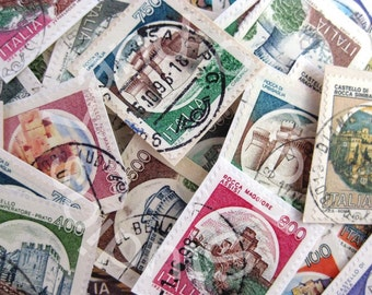 50 Italian various castle stamps for your art projects