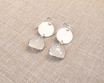 Sterling Silver Coin Earrings with White Opal Pendant