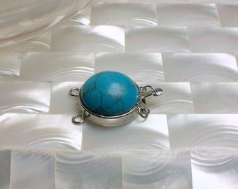 1pc Clasp Turquoise Blue Howlite Double Strand clasp Round box silvertone clasp Necklace ending Jewelry Jewellery Craft Supplies
