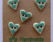 Buttons Ceramic Handmade Hearts Green Small