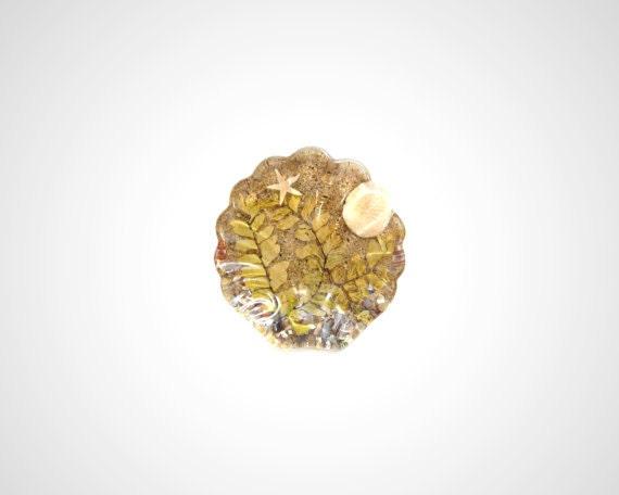 Nautical Soap Dish, Clam Shell Sand Resin Trivet