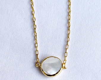 Mother Of Pearl Gold Necklace Bridesmaid Gift Bridal Necklace