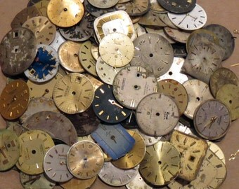 Steampunk 20 FACES Vintage Watch Dials Variety Distressed Time Pieces Old Parts