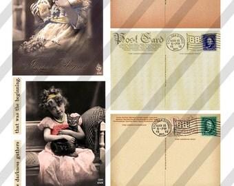 Digital Collage Sheet  Vintage Postcard  Images  (Sheet no. O176) Ephemera-Instant Download
