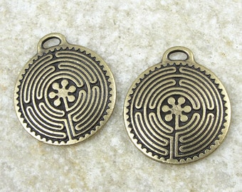Antique Brass Pendant - TierraCast Labyrinth Pendant - Large Labyrinth Drop - Chartres Spiral Yoga Pendant Bronze (P866B)