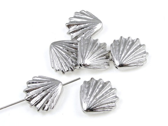 TierraCast LG SHELL BEADS - Bright Silver Seashell Beads - Rhodium Silver Beads - Beach Beads Nautical Ocean Sea Jewelry Supplies (p531)