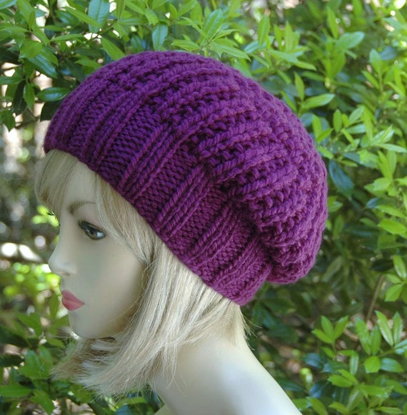 Purple Chunky Knit Slouchy Hat, Slouchy Beanie Hat, Oversized Beanie, Chunky Knit Slouchy Hat, Women Hat, Winter Hat, Men's Hat, Reversible