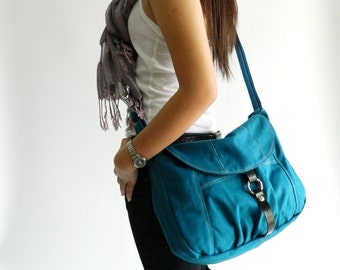 Sale Sale Sale 30%  -  Claire in Teal Messenger bag,Diaper bag  cross body bag,Tote,Purse,Women handbag,Gift For her,School bag