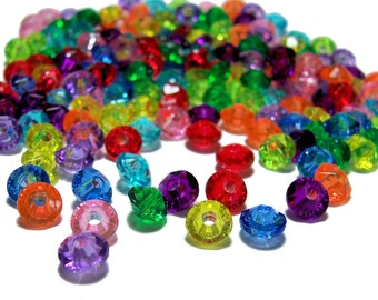 4x6mm acrylic Rondelle Saucer beads colorful mix 100 beads