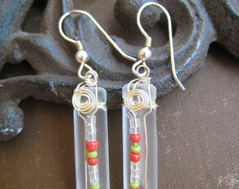 RECYCLED glass earrings ... Frosted Kinky Liquor ... Wire Wrapped  UNIQUE