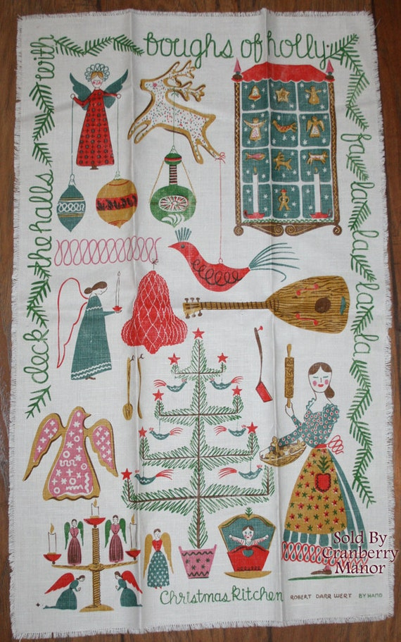 Robert Darr Wert Christmas Kitchen Tea Towel Rustic Primitive Folk Art Winter Holiday December Finds Vintage Linens Home Decor Tableware