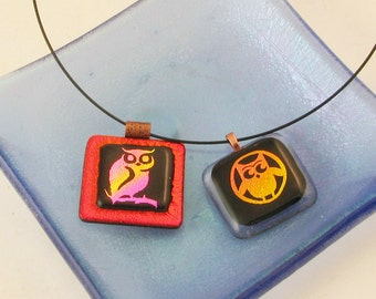 Owl Pendant - dichroic jewelry - Halloween pendant - Glass Owl - owl necklace  (3004-3501)