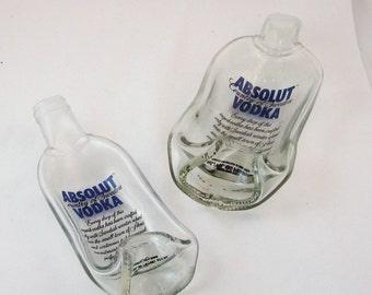 ABSOLUT  Vodka melted bottle spoonrest or dish - Painted label bottle - large