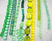 DESTASH Vintage Bead Lot in Green and Yellow - Spring