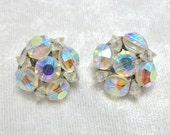 Crystal Clip On Earrings - Vintage 60s - Bead Cluster