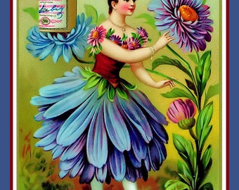 Aster Flower Girl Refrigerator Magnet - FREE US SHIPPING