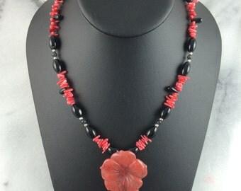 Strawberry quartz pendant black agate red coral sterling