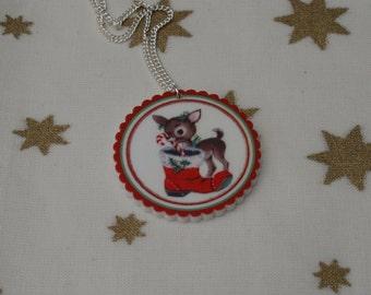 Christmas Deer Necklace, Vintage Christmas Illustration Necklace