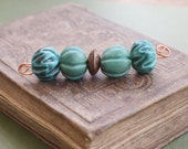 Four Fluted Melon Beads in Teal and Green Turquoise (4)