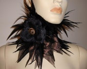 Ethereal tribal goddess Metallic bronze gold black rose feather neck corset choker statement piece high collar