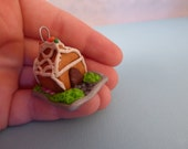 Mini Polymer Clay Gingerbeard House Ornament