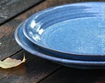 Stoneware Blue Plate Shallow Dish Platter