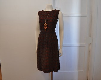 vintage 60s dress / Sweet Coco / Vintage 1960's Dress / Chocolate Brown Scalloped