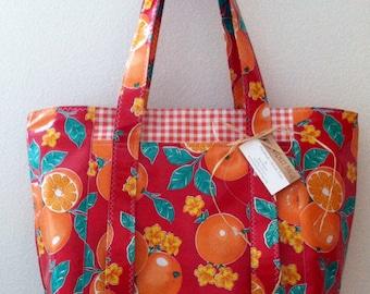 Beth[s Red Oranges Oilcloth Multi Market Tote bag