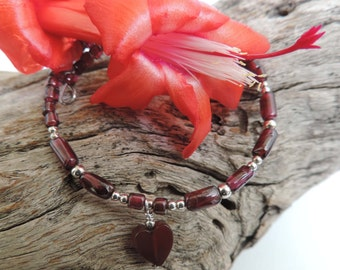 Valentine - Garnet Memory Wire Bracelet