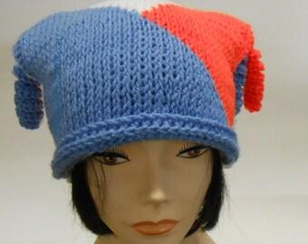 Square Crochet Cap Jester Hat Colorblock Cap
