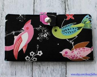 Handmade Long Wallet BiFold Clutch - Vegan Wallet - June Song bird