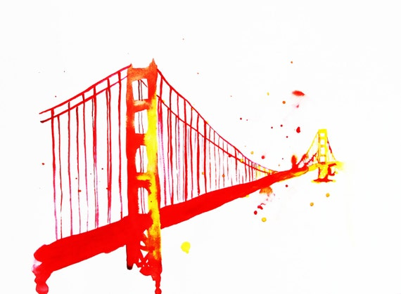 The Golden Gate Bridge Watercolor Illustration  Print