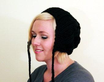 Knit Slouchy Earflap Hat - Black
