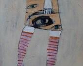 outsider EMERY orig painting 'each step she feels closer'