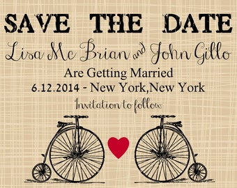 Vintage Bicycle Save the Date Wedding Cards, Personalized Invitations