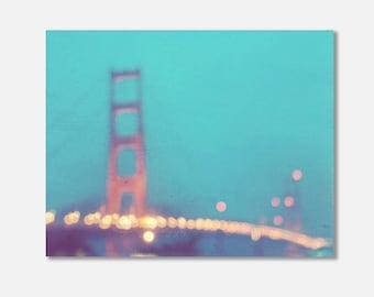 peppermint blue decor, San Francisco canvas wrap, Golden Gate bridge at night, abstract photo, bokeh photography, gold, dreamy, California