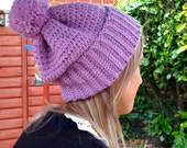 Crochet Pattern for Hat in Pompom Slouchy Design (instant download)