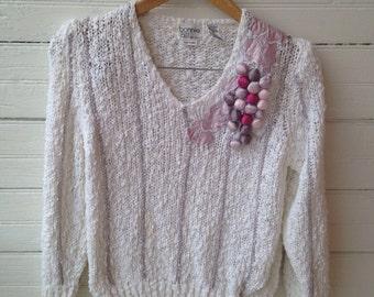 Vintage 80s Nubby White Fiber Arts Sweater
