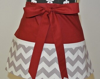 Red with Gray and White Chevron Craft Apron, Vendor Apron, Garden Apron, Teacher Apron, Cooking Apron, Server Apron, Hostess Apron