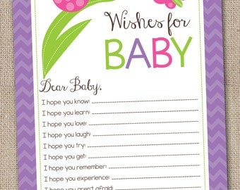 Ladybug Instant Download Baby Wishes Card for Girls Printable PDF Baby Shower Game in Purple