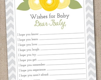 Printable Baby Wishes Card Yellow & Green Flower Doodles and Chevron Stripes INSTANT DOWNLOAD PDF