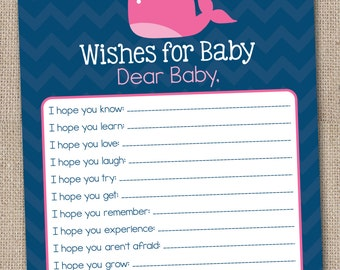 Printable Baby Wishes Card Pink Whale and Chevron Stripes INSTANT DOWNLOAD PDF